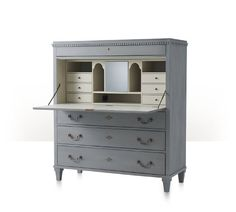 Secrétaire à Abbatant, Grey-Blue Painted Exterior, Hinged Fall Front Writing Surface, Soft Ivory Painted Interior with Drawers & Pigeon HolesInterior Rotating Cabinet with Mirror Back, Power Management Strip, Dentil, Moulded Cornice with Lockable Drawer Below, Three Drawers to Base