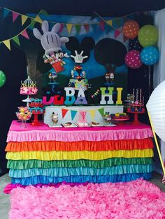 Mickey Mouse Clubhouse birthday party dessert table! See more party planning ideas at CatchMyParty.com!