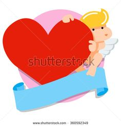 Cupid flying angel holding big red heart background. Flat icon illustration. Valentines day design template - stock vector