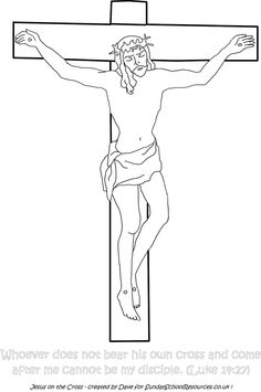 Clip Art Image: Picture of Jesus on the Cross (black and