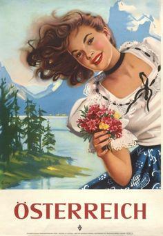 Austria Austrian Invite Europe European Vintage Travel Advertisement Art Poster