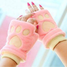 Kawaii Pink cat neko mittens fairy kei style glovess at sanrense.com. These are…