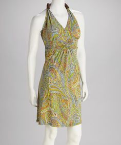 Take a look at this Green Paisley Halter Dress by Talïa on #zulily today! $14.99, regular 45.00
