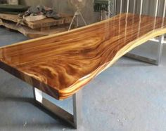 Live Edge Dining Table Acacia Wood Live Edge Reclaimed Solid Slab by flowbkk on Etsy Dining Furniture, Dining Room Table, Wood Table, Furniture Design, Furniture Ideas, Furniture Makeover, Antique Furniture, Live Edge Wood, Diy Desk
