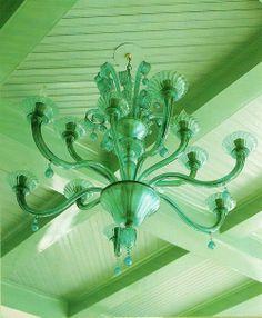 Green Ceiling Green Chandelier