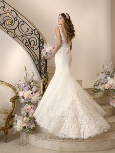 Elegant Fit and Flare Illusion Straps Wedding Dresses with Deep V-back