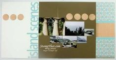 Scrapbook page of island scenery pictures - 2 page layout - Everyday Enchantment Stampin' Up paper