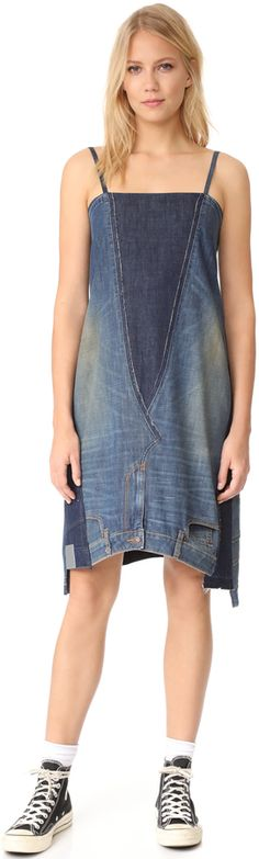 Shop 6397 2 Jeans Dress in Denim Patchwork at Modalist Diy Jeans, Sweater Dress Outfit, Jeans Dress, Sweater Skirt, Denim Fashion, Fashion Outfits, Denim Patchwork, Patchwork Dress, Refashion