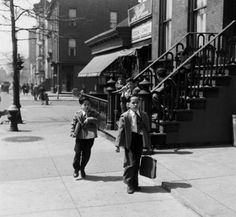 Young boys on their way to school. Photograph by Ralph Morse. Brooklyn, New York, April 1949.