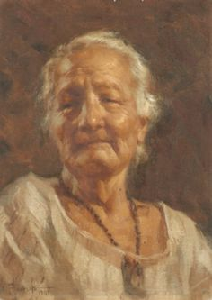 Portrait of an old lady, Oil on canvas laid down on board, 1941. An Amorsolo