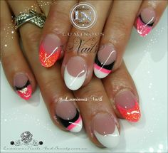 Luminous Nails: Pink, Orange, Black & White Acrylic Nails...