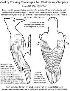 how to carve a wooden Wood Carving patterns free Woodpecker. https://www.facebook.com/Bill.Sculptures.tronconneuse.Quebec