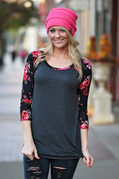 Charcoal Floral - Red – The Pulse Boutique