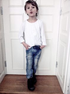 cool kid in a simple white tee, fab denim jeans