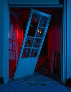 Blue door and red walls