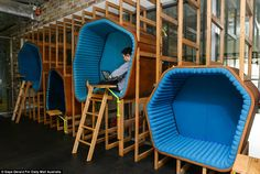 The unique work pods are highly popular among staff members