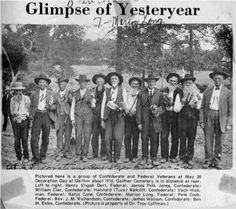 """""""Glimpse of Yesteryear"""". Pictured here is a group of Confederate and Federal Veterans on May 30, 1910 for Decoration Day at Gaither, Arkansas.  (Picture is property of Dr. Troy Coffman)"""
