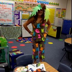 Chicka Chicka Boom Boom Halloween costume for a teacher.