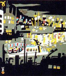 川西英 神戸港夜景(兵庫百景) 神戸と兵庫のモダニズム 神戸市立博物館