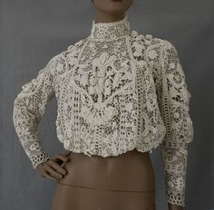 Irish Crochet - an amazing piece Freeform Crochet, Irish Crochet, Crochet Lace, Crochet Blouse, Antique Lace, Vintage Lace, Lace Outfit, Linens And Lace, Irish Lace