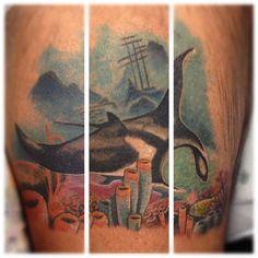 Manta ray and coral tattoo
