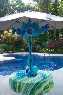 A Little Mermaid Party - Kids pool party ideas for games, decorations, and food. Pool Party Themes, Pool Party Kids, Mermaid Party Decorations, Kid Pool, Luau Party, Diy Party, Party Ideas, Pool Party Centerpieces, Pool Decorations