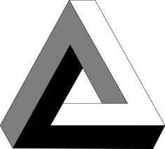 "The Penrose triangle, also known as the Penrose tribar, is an impossible object. It was first created by the Swedish artist Oscar Reutersvärd in 1934. The mathematician Roger Penrose independently devised and popularised it in the 1950s, describing it as ""impossibility in its purest form"". It is featured prominently in the works of artist M. C. Escher, whose earlier depictions of impossible objects partly inspired it."