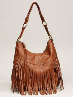 American Eagle Brown Leather Fringe Bag