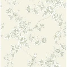 Bird Trail Floral Green & Taupe Wallpaper: Image 1