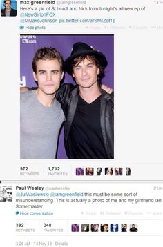 Omg!! Hahah! Max greenfield tweets a pic of Paul Wesley and Ian Somerhalder