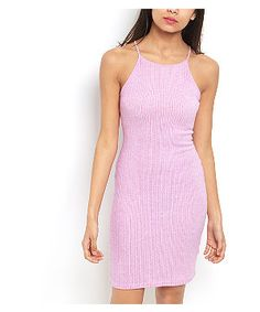 Purple Ribbed High Neck Mini Dress | New Look