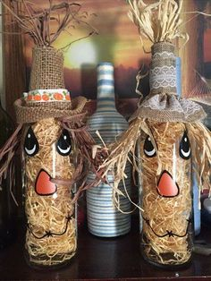 Old wine bottles turned into scarecrows!