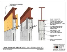 The Masonry Detailing Series is a collection of illustrative construction details & diagrams made for architects & engineers to use as a design resource. Steel Structure Buildings, Concrete Structure, Building Structure, Steel Columns, Steel Beams, Steel Frame Construction, Construction Design, Steel Building Homes, Building A House
