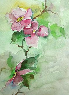 Pink Flowers on Branch Painting by Robin Miller-Bookhout - Pink Flowers on Branch Fine Art Prints and Posters for Sale