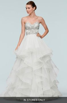 Meri Beaded Strapless Layered Tulle Gown