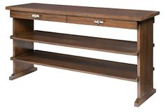I know this is way out of your price range, but this is what I was picturing for behind your couch... with bookshelves for all your books.  Henry Console on OneKingsLane.com