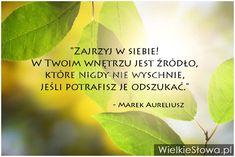 Zajrzyj w siebie! W Twoim wnętrzu jest źródło... #Marek-Aureliusz,  #Źródło, #Życie My Dream Came True, New Things To Learn, Motto, Proverbs, Give It To Me, Inspirational Quotes, Motivation, Learning, Happy