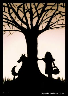 Silhouette of Little Red Riding Hood & Wolf art Red Riding Hood Wolf, Red Ridding Hood, Silhouettes, Charles Perrault, Serpentina, Big Bad Wolf, Shadow Puppets, Silhouette Art, Red Hood