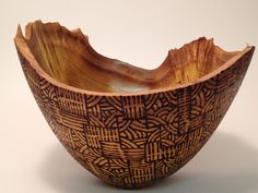 Mulberry bowl, pyrographed, UV sealed, waxed.