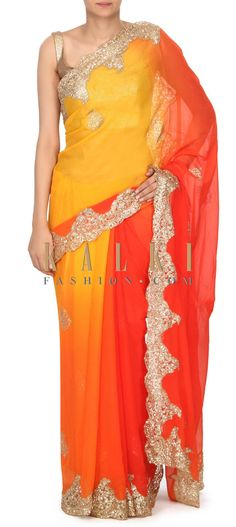 Shaded saree in orange and yellow chiffon.Border is embellished in sequin embroidery.Blouse is unstitched in net. Indian Saris, Indian Ethnic, Sequin Embroidery, Orange, Yellow, Indian Fashion, Party Wear, Sarees, Bucket