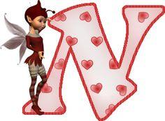 Alfabeto de hadas con letras con corazones. | Oh my Alfabetos!