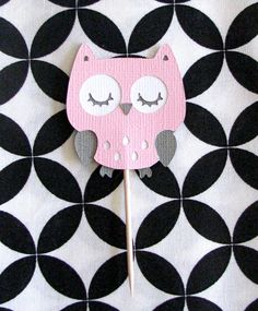 Pink and Gray Owl Cupcake Toppers Baby Shower Decoration via Etsy