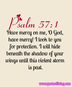 Bible Verse ♥♥♥ Psalm 57:1 Have mercy on me, O God, have mercy! I look to you for protection. I will hide beneath the shadow of your wings until this violent storm is past.♥♥♥