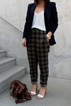 office style: navy blazer + plaid trousers