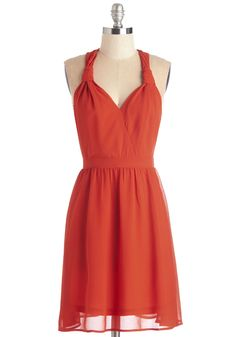 The description says scarlet but it looks more like burnt orange to me, which I love. Time to Glow Dress, #ModCloth