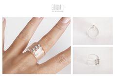 Acrylic, Sterling Silver, Cubic. Handmade jewelry by Emilia I. https://www.facebook.com/emiliai.joyas/