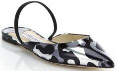"Karlie Kloss in Polka-Dot Dress with Jimmy Choo ""Genoa"" Flats"
