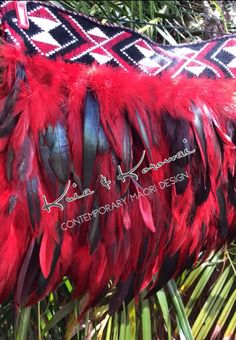 """'Lil G"""" Red & Black Infant Full Feather Cloak"""