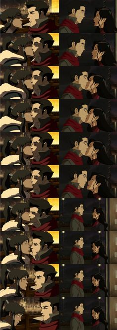 You can see he is kind of okay with korra kissing him out of nowhere but he's just totally surprise when asami did
