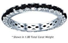 Black diamond three-row pave eternity band